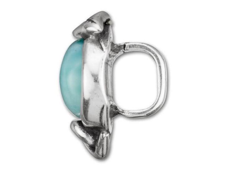 Regaliz Antique Silver-Plated Turquoise Resin Leaf Slider Bead