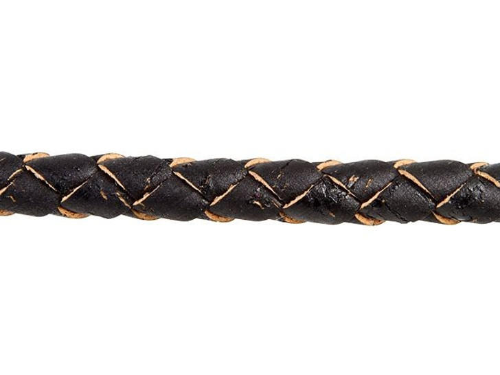 Regaliz Black Hollow Braided Cork Cord by the Inch
