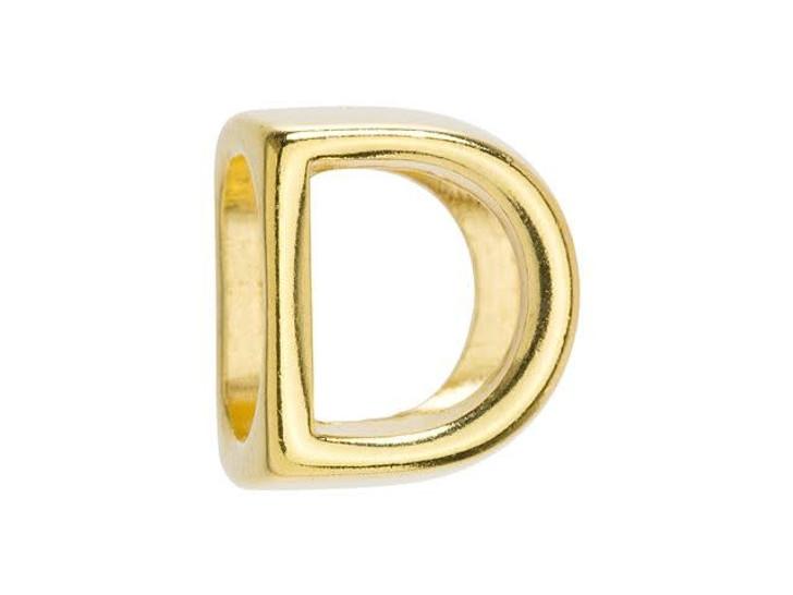 Regaliz Gold-Plated Pewter Alphabet Slider Bead for Oval Leather - D
