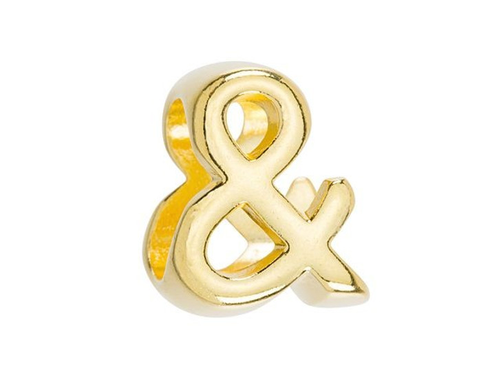 Regaliz Gold-Plated Pewter Ampersand Slider Bead for Oval Leather