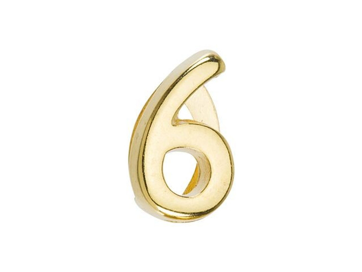 Regaliz Gold-Plated Pewter Number Slider Bead for Flat Leather - 6 or 9