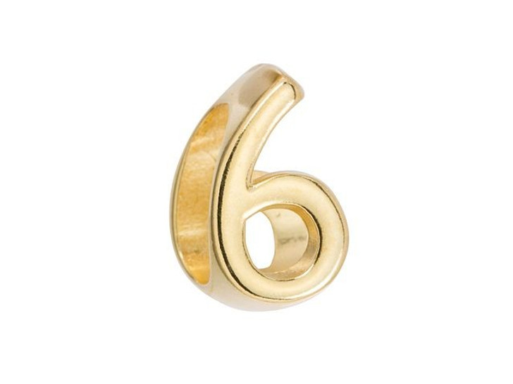 Regaliz Gold-Plated Pewter Number Slider Bead for Oval Leather - 6 or 9