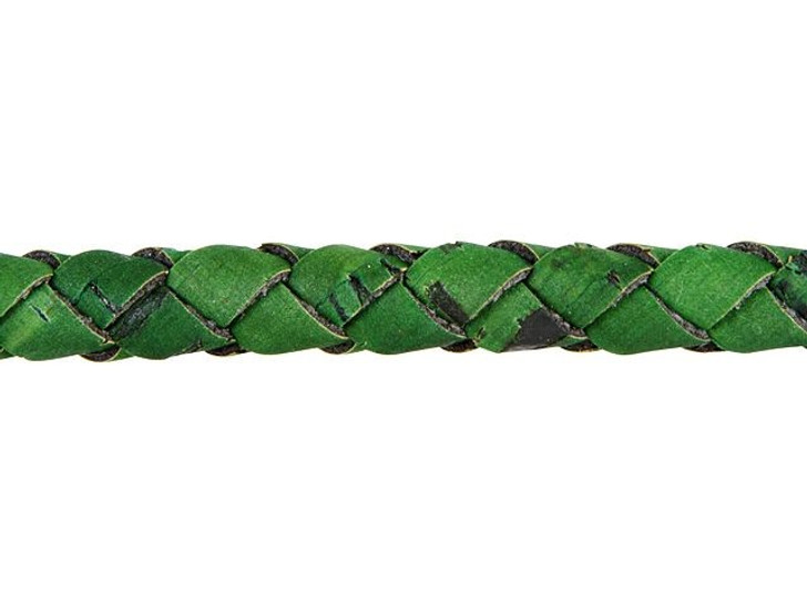 Regaliz Grass Green Hollow Braided Cork Cord by the Inch