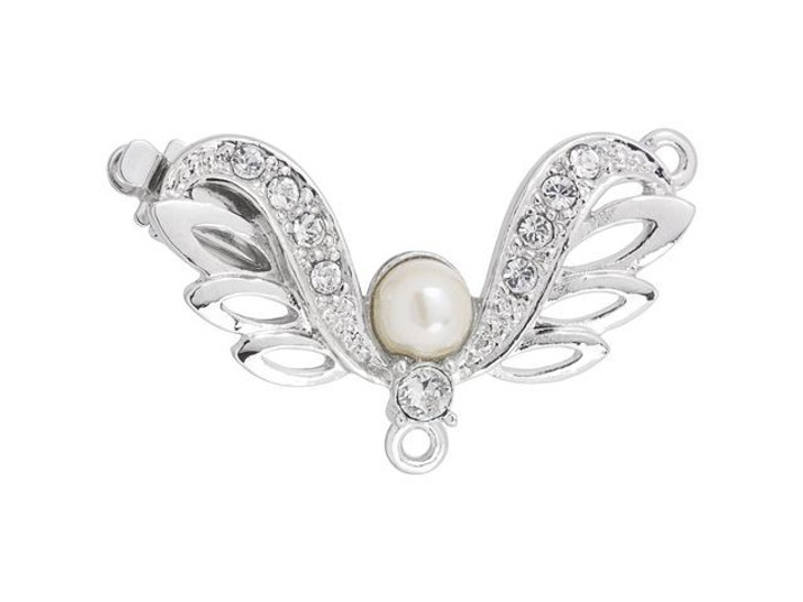Rhodium-Plated Angel Wings Clasp with White Pearl and Swarovski Crystals