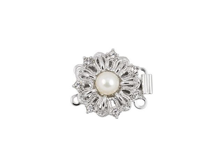 Rhodium-Plated Elegant Flower Clasp with White Pearl and Swarovski Crystals