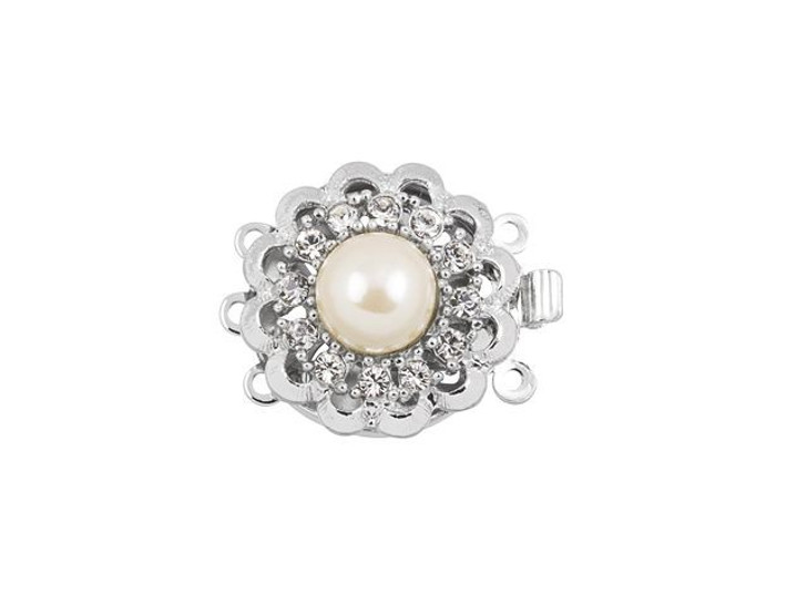Rhodium-Plated Fancy Flower Clasp with White Pearl and Swarovski Crystals