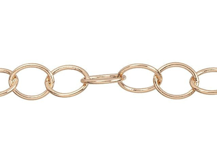 Rose Gold-Plated 6 x 5mm Oval Cable Chain By the Foot