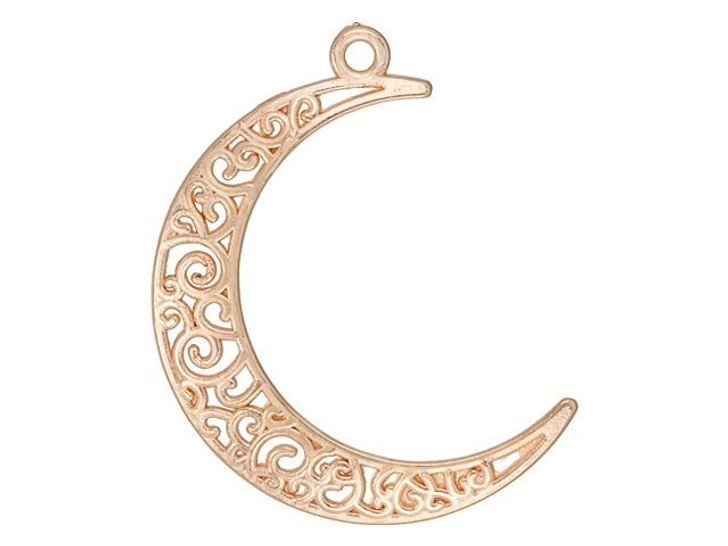 Rose Gold-Plated Filigree Moon Pendant