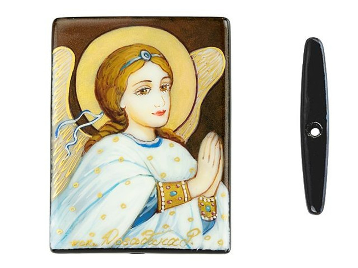 Russian Orthodox Painting San Gabriel 30 x 40mm Black Agate Bead