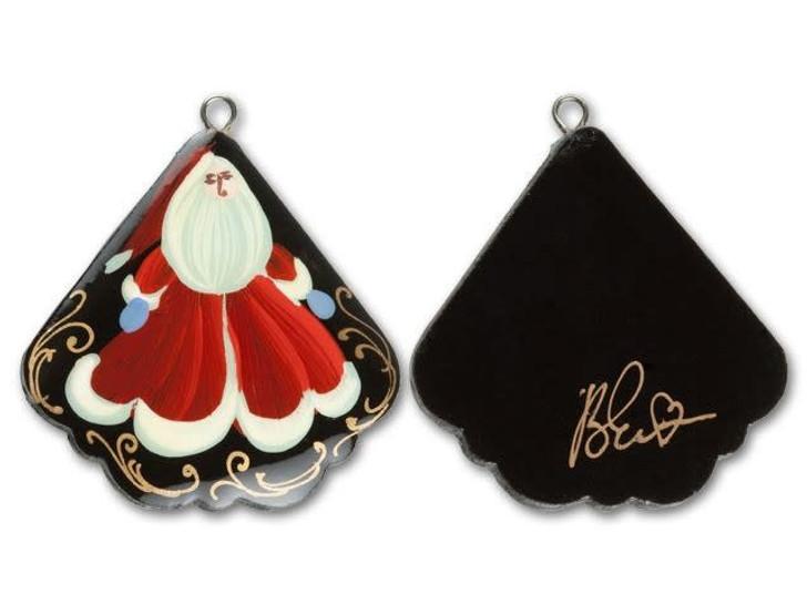 Santa Claus Fan Paper Mache Pendant