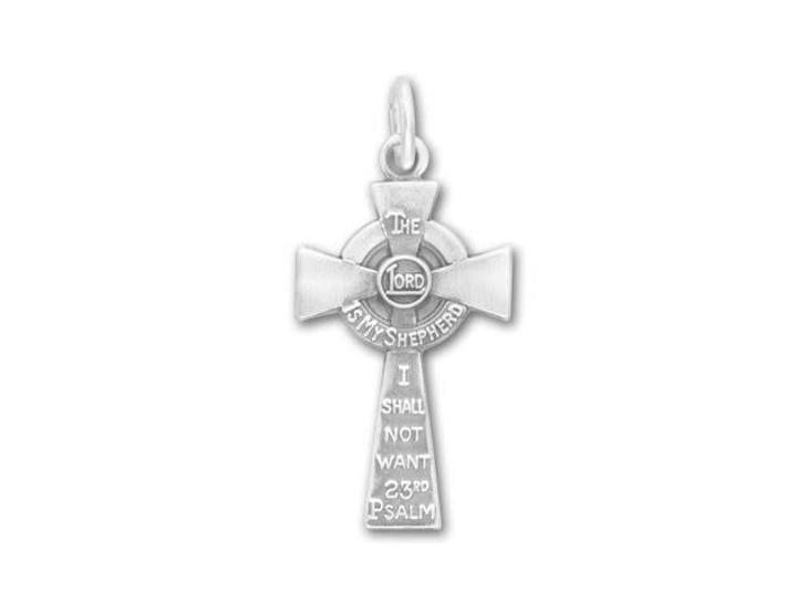 Satin Finish Sterling Silver 23rd Psalm Cross