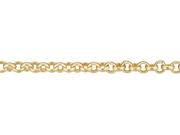 Satin Hamilton Gold-Plated 2mm Petite Rollo Chain by the Foot