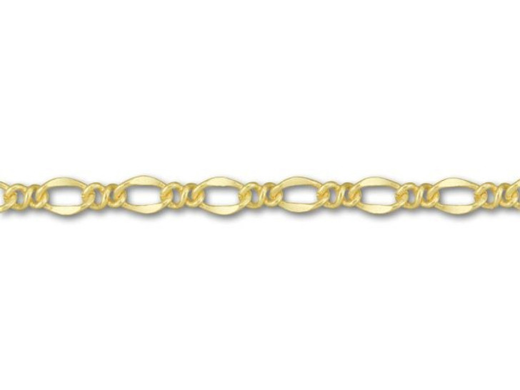 Satin Hamilton Gold-Plated Figaro Chain by the Foot