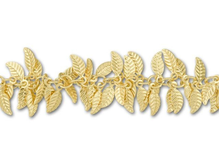 Satin Hamilton Gold-Plated Leaf Chain by the Foot