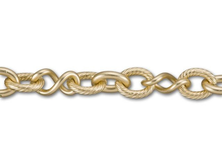 Satin Hamilton Gold-Plated Twisted Link and Textured Link Chain by the Foot