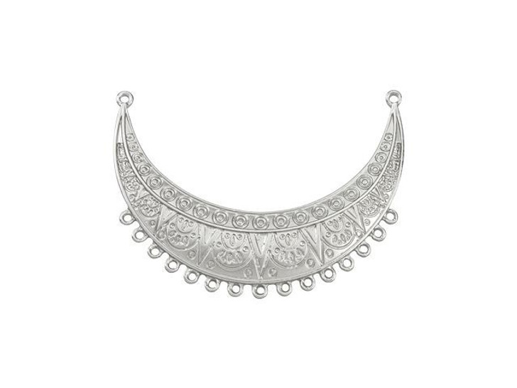 Satin Rhodium-Plated Pewter Ethnic Crescent Pendant with 15 Rings