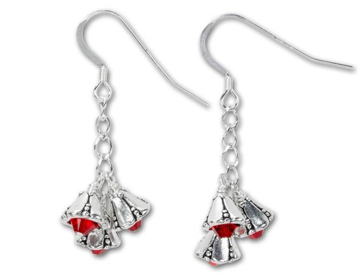 Silver and Red Bells Earring Kit