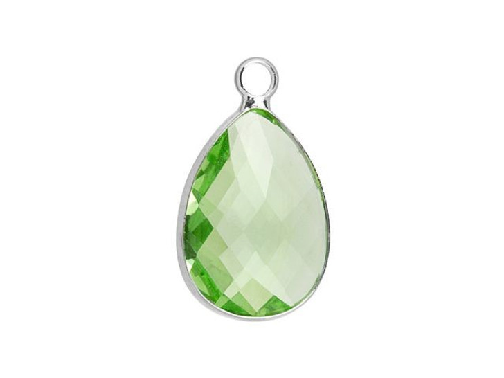 Silver-Plated 13 x 18mm Peridot Faceted Glass Bezel Tear Drop Charm