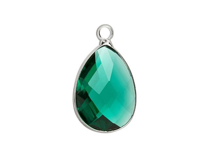 Silver-Plated 13 x 18mm Teal Faceted Glass Bezel Tear Drop Charm
