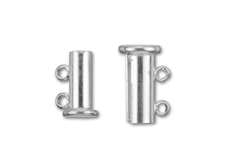 Silver-Plated 14x10mm 2-Ring Magnetic Tube Clasp