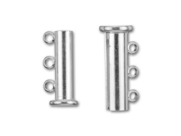 Silver-Plated 20x10mm 3-Ring Magnetic Tube Clasp