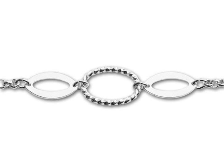 Silver-Plated 3 Oval Links Rollo Chain by the Foot