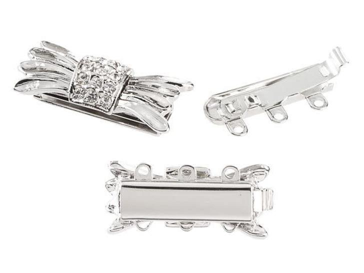 Silver-Plated 3-Strand Art Deco Box Clasp with Swarovski Crystals