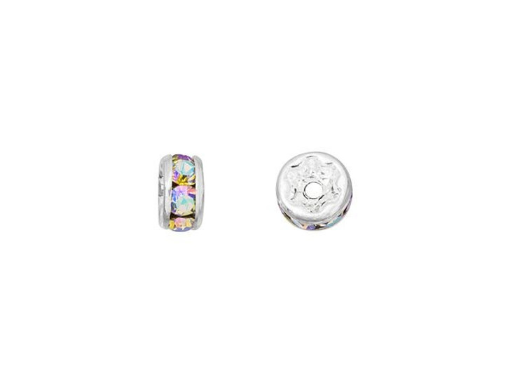 Silver-Plated 4.5mm Crystal AB Rhinestone Rondelle Spacer