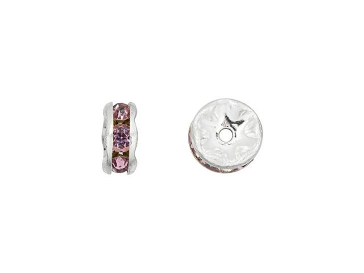Silver-Plated 6mm Amethyst Rhinestone Rondelle Spacer