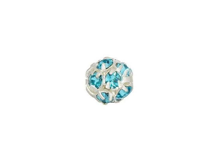 Silver-Plated 6mm Aquamarine Rhinestone Ball Bead
