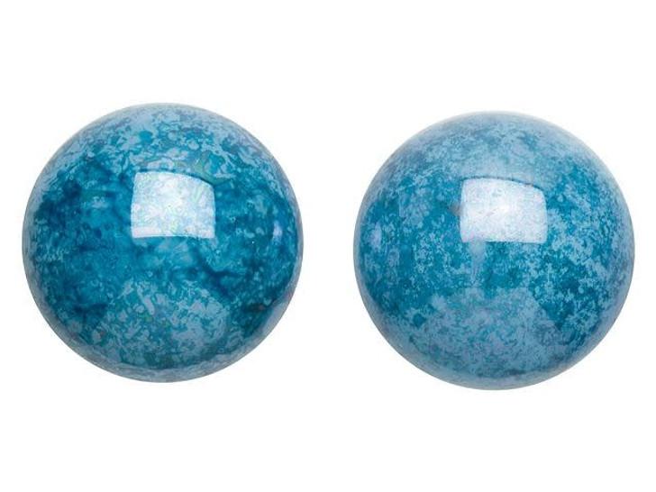 18mm Blue Turquoise Lumi Czech Glass Round Cabochon