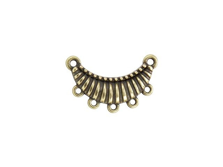 Antique Brass-Plated Small Ribbed Pendant with 5 Loops
