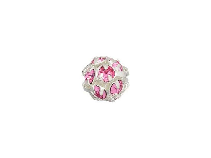 Silver-Plated 6mm Rosaline Rhinestone Ball Bead