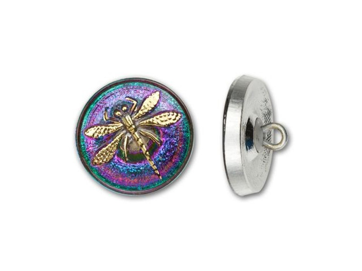 18mm Czech Glass Round Gold Dragonfly with Purple and Blue Background Button by Raven's Journey