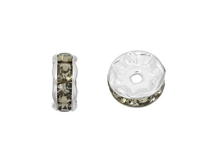 Silver-Plated 8mm Black Diamond Rhinestone Rondelle Spacer