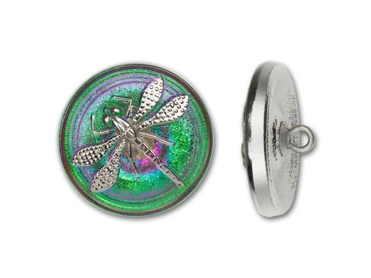 18mm Czech Glass Round Silver Dragonfly with Green and Hot Pink Background Button by Raven's Journey