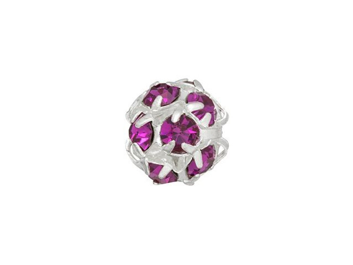 Silver-Plated 8mm Fuchsia Rhinestone Ball Bead