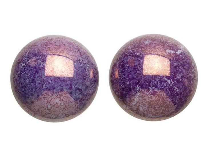 18mm Purple Lumi Czech Glass Round Cabochon