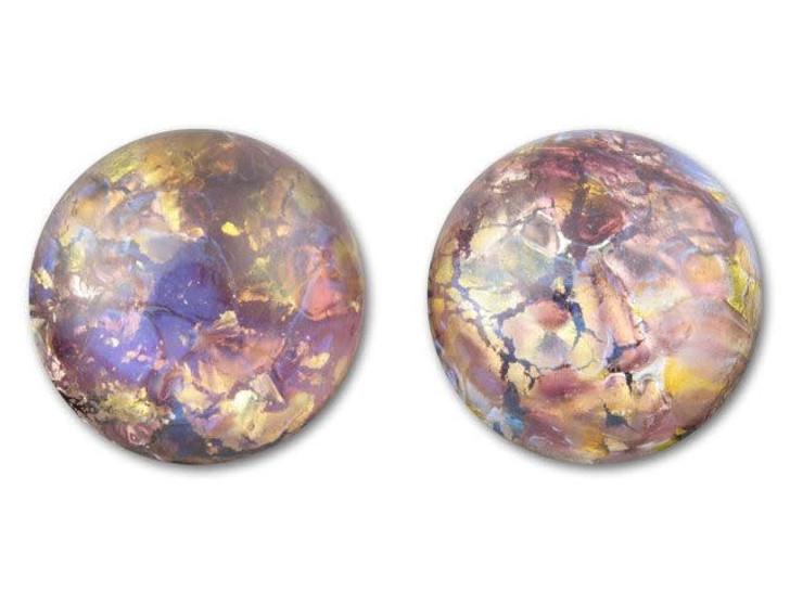 18mm Round Glass Cabochon - Amethyst Opal