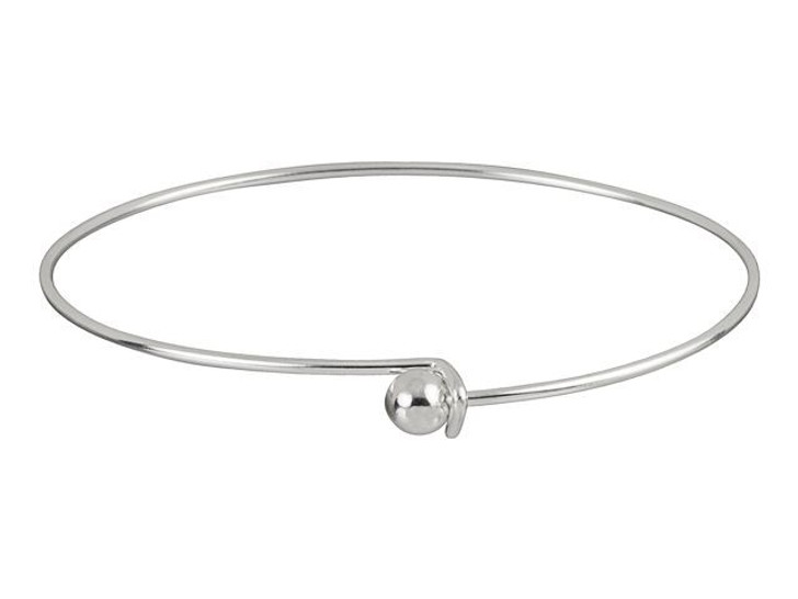 Silver-Plated Add-a-Bead Bracelet Bangle