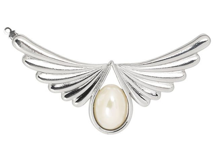 Silver-Plated Angel Wings Clasp with White Swarovski Pearl