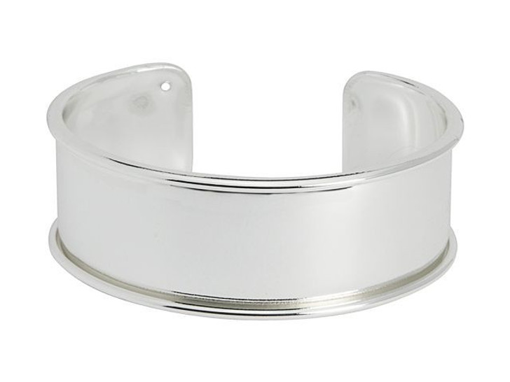 Silver-Plated Brass Bracelet Base for Seed Beads/20mm Flat Cord