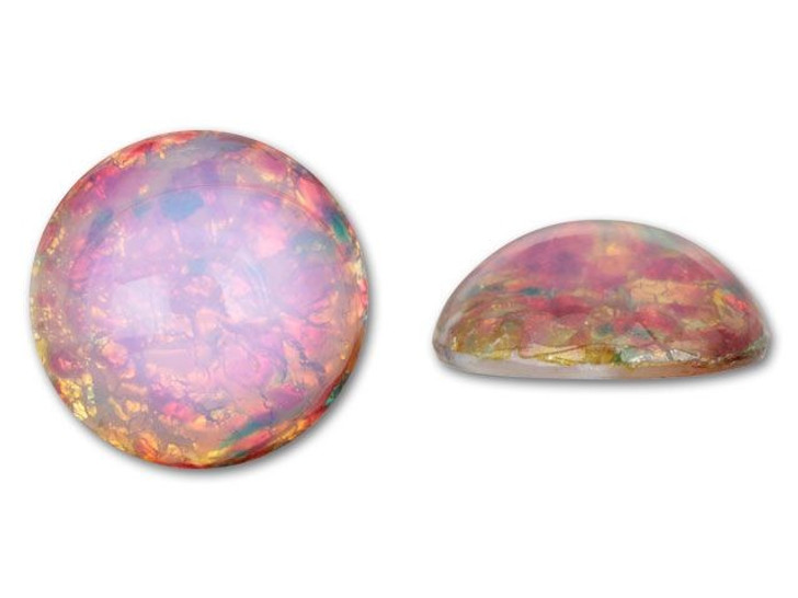 18mm Round Glass Cabochon - Fire Opal