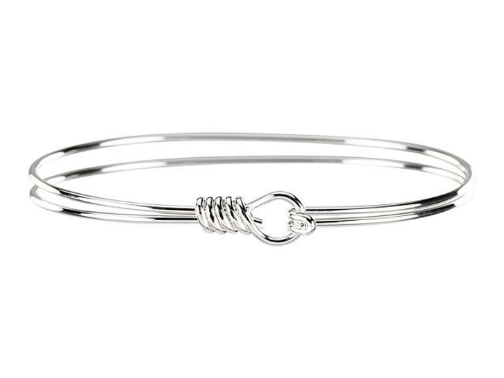Silver-Plated Brass Double-Wire Bangle Bracelet