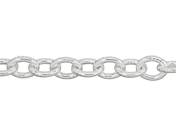 Silver-Plated Brass Small Textured Cable Chain