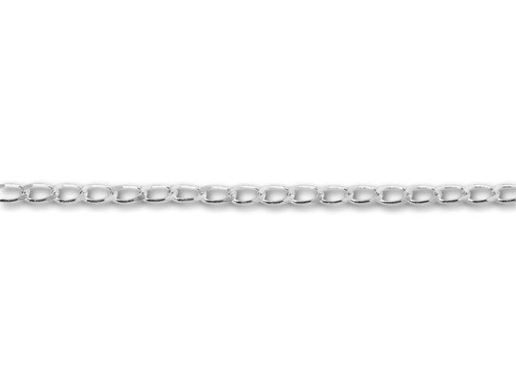Silver-Plated Curb Chain by the Foot
