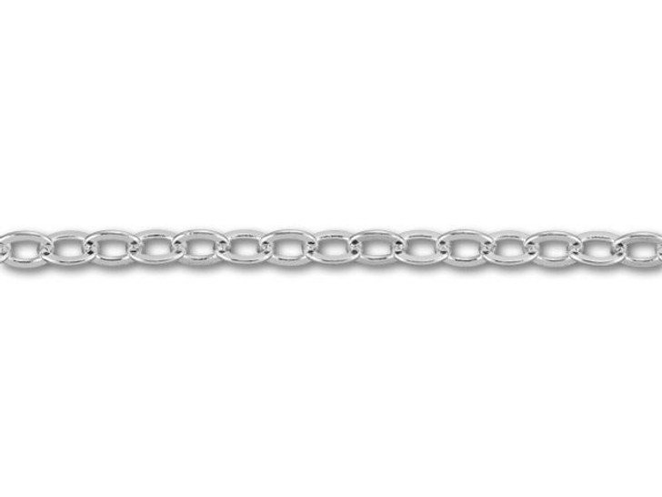 Silver-Plated Flat Oval Cable Chain by the Foot