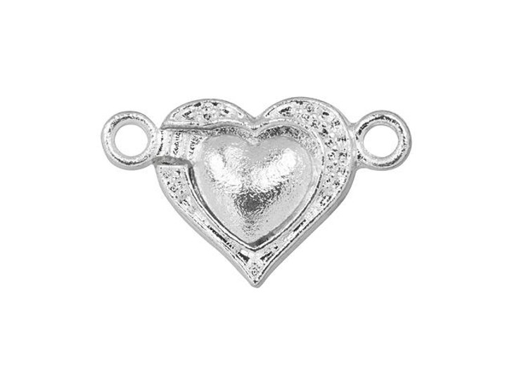 Silver-Plated Magnetic Heart Clasp