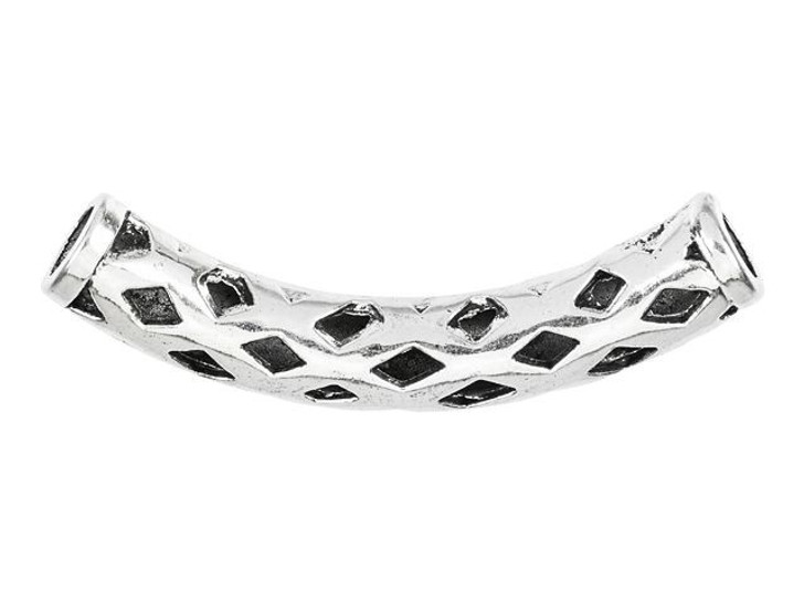 Silver-Plated Pewter Diamond Cut Out Design Curved Tube Bead