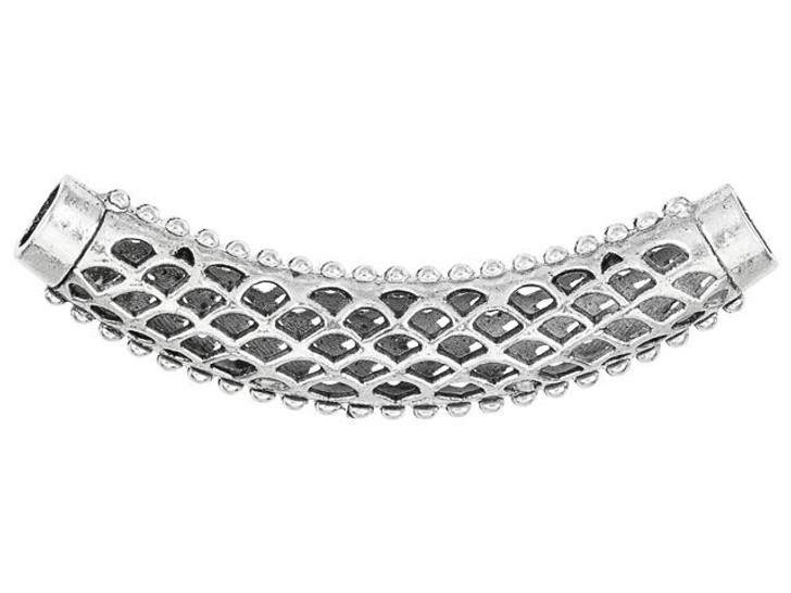 Silver-Plated Pewter Mesh Design Curved Tube Bead